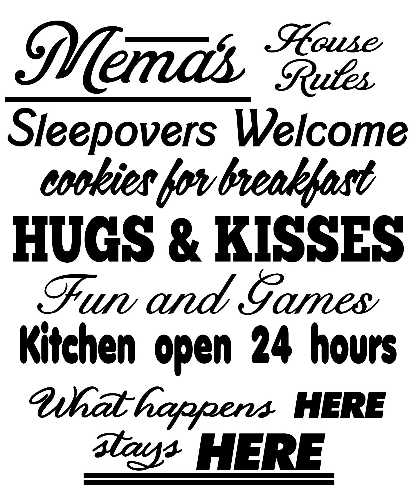 FREE Mema's House Rules SVG Cutting File