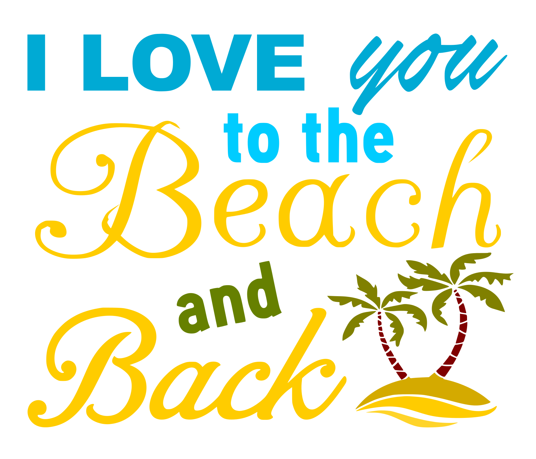 Free Beach and Back SVG Cutting File