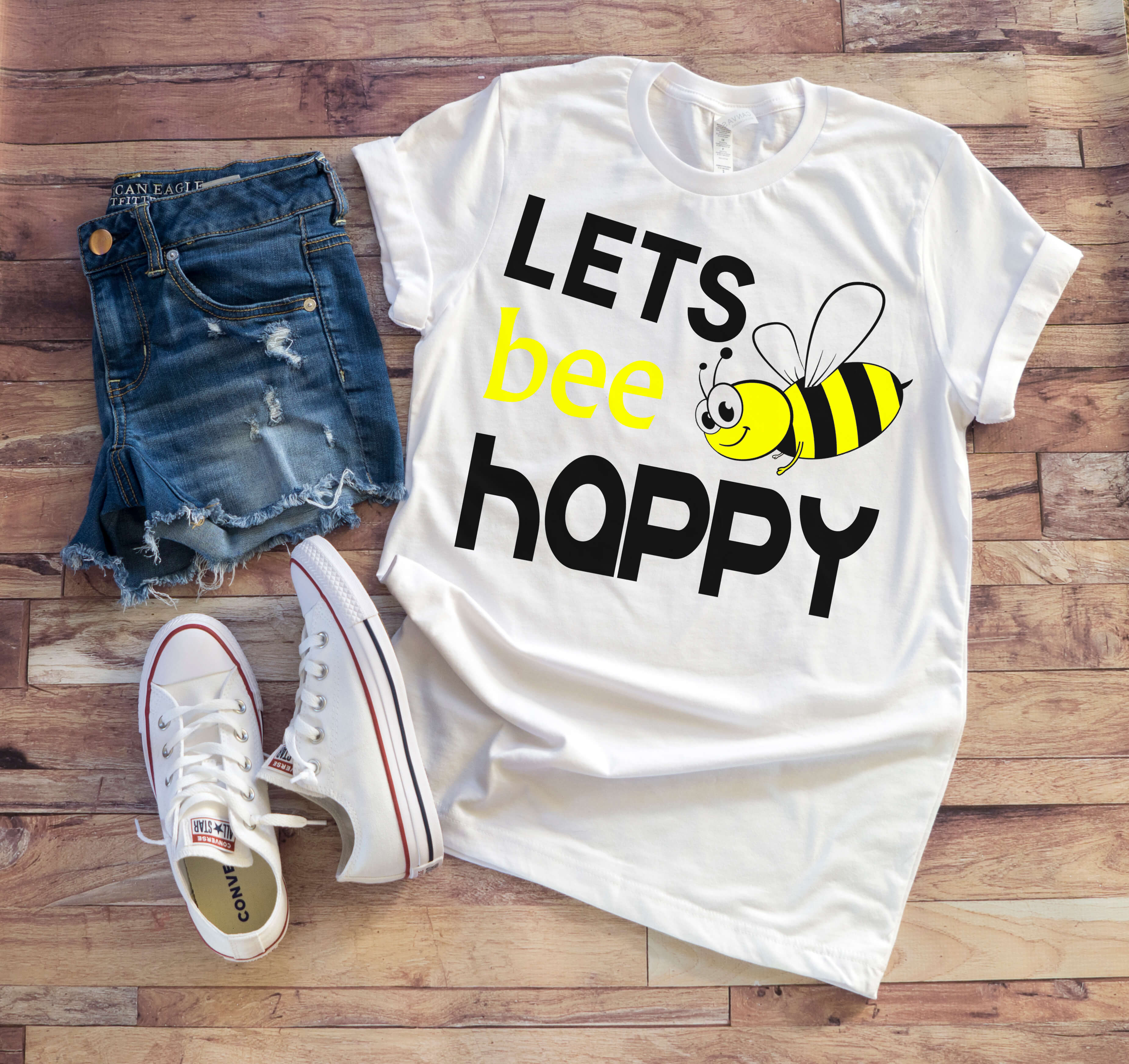 Free Lets Bee Happy SVG File