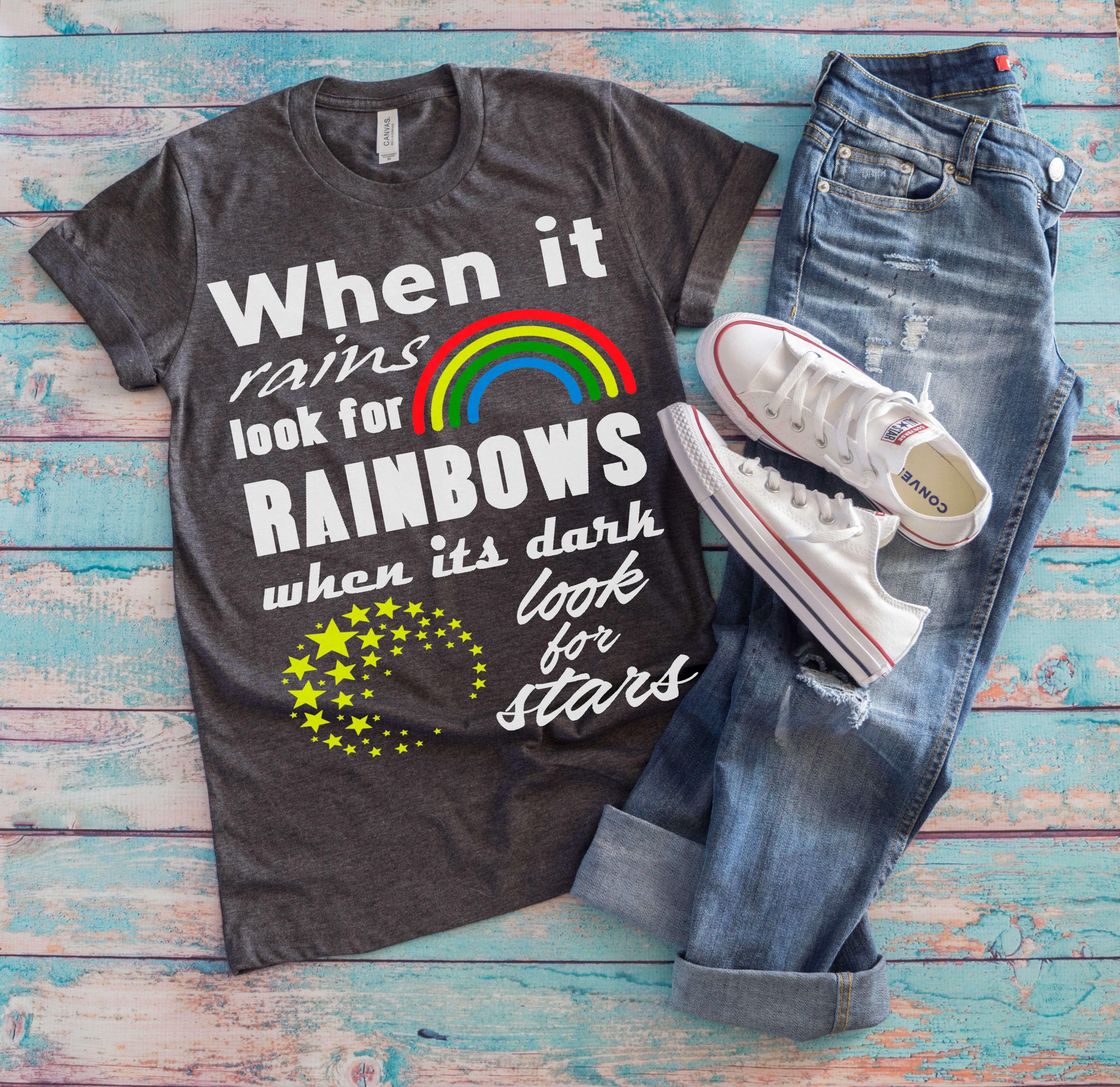 Free Rainbows and Stars SVG File