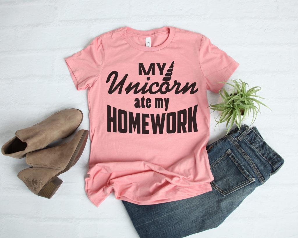 Free Unicorn Ate My Homework SVG File