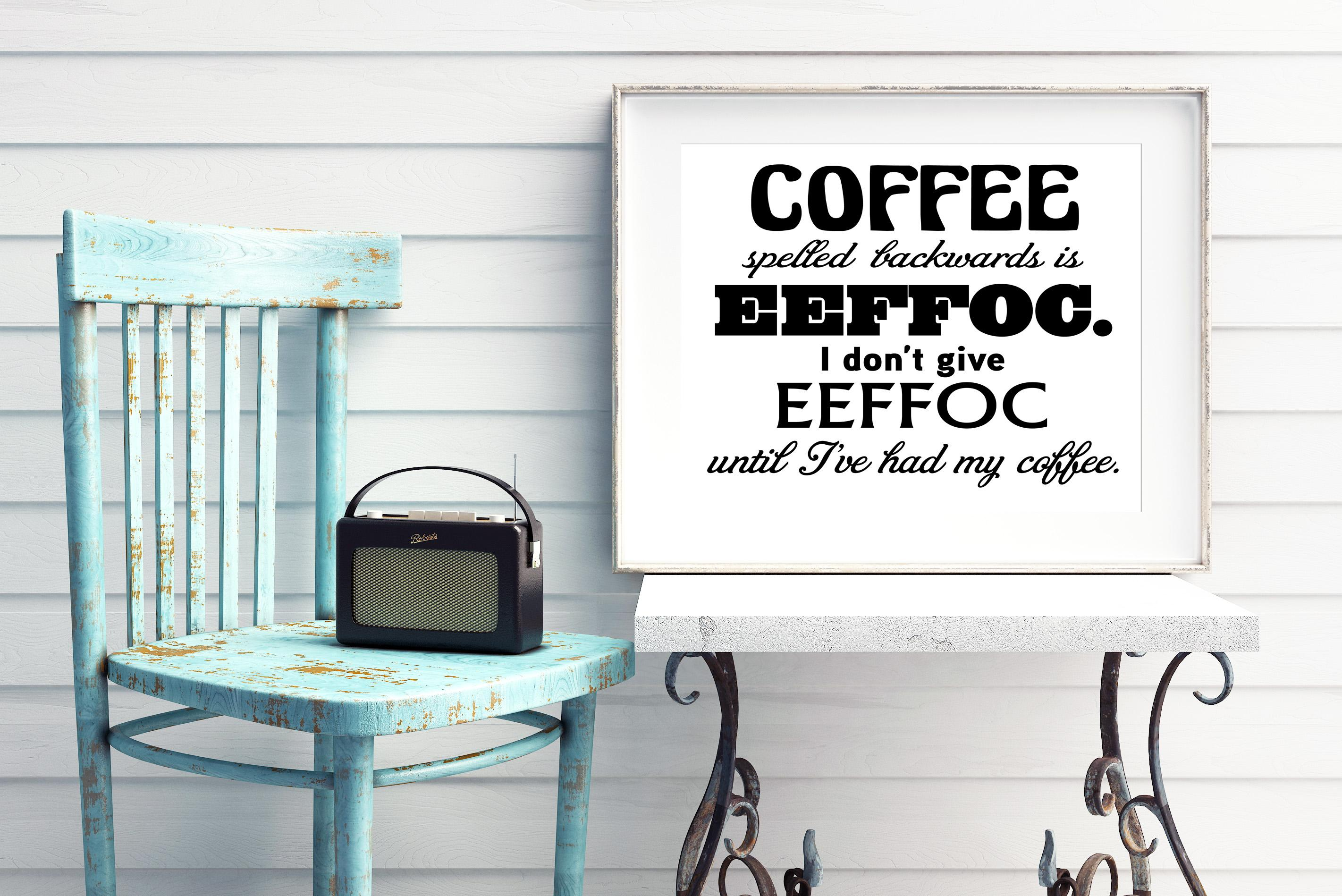 Free Coffee spelled backwards SVG File