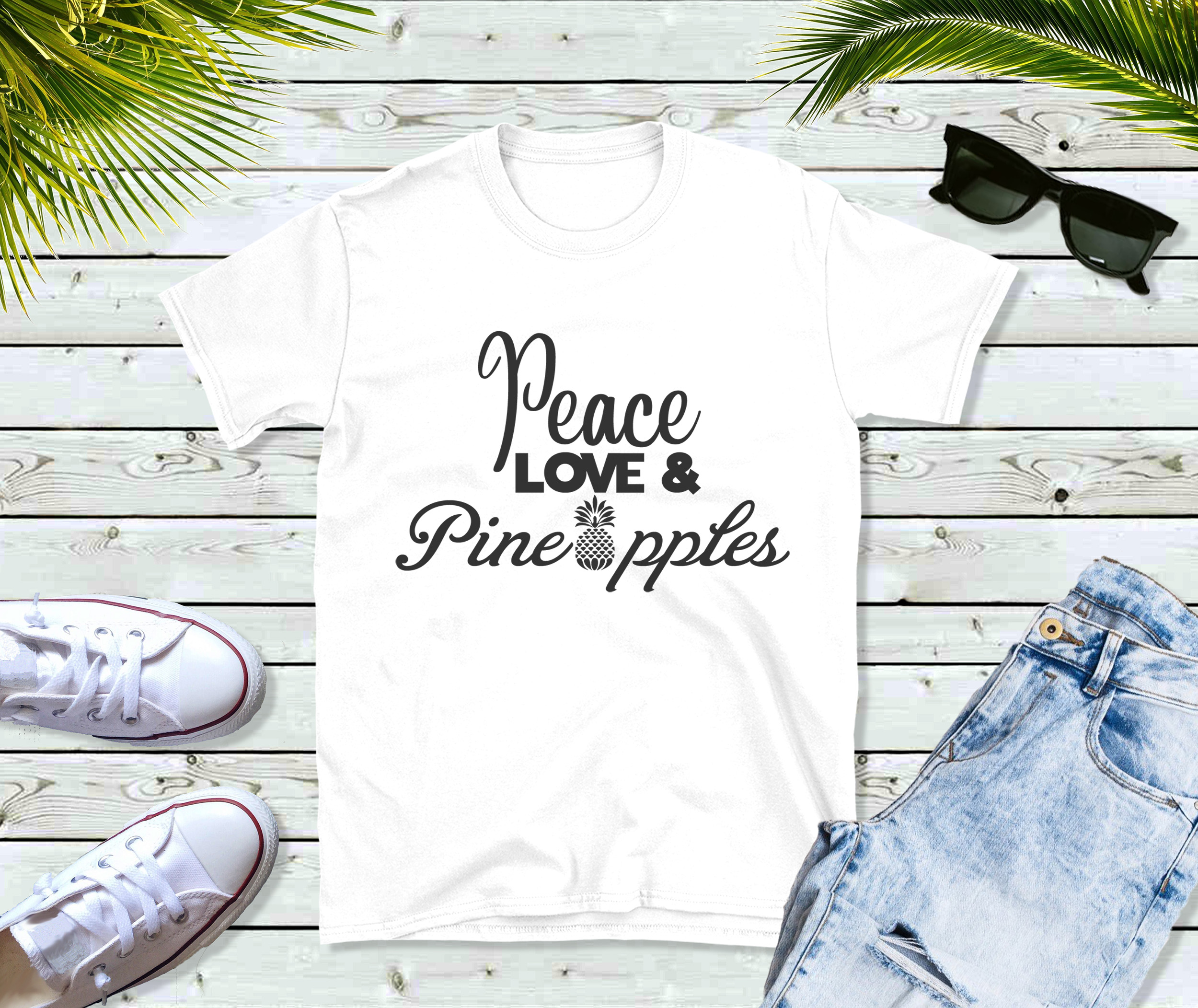 Free Peace, Love & Pineapples SVG File