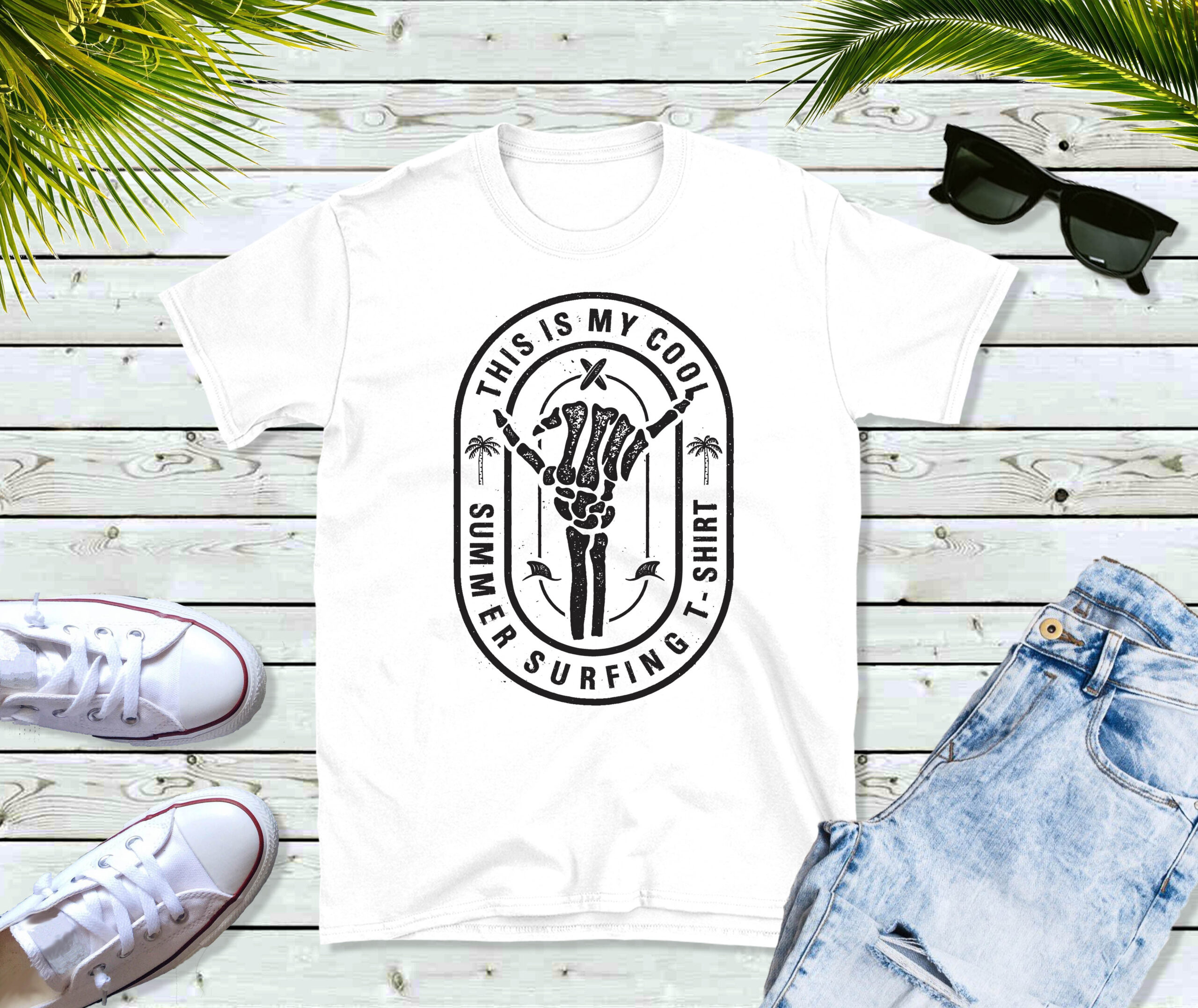 Free Summer Surfing Tee Sublimation File