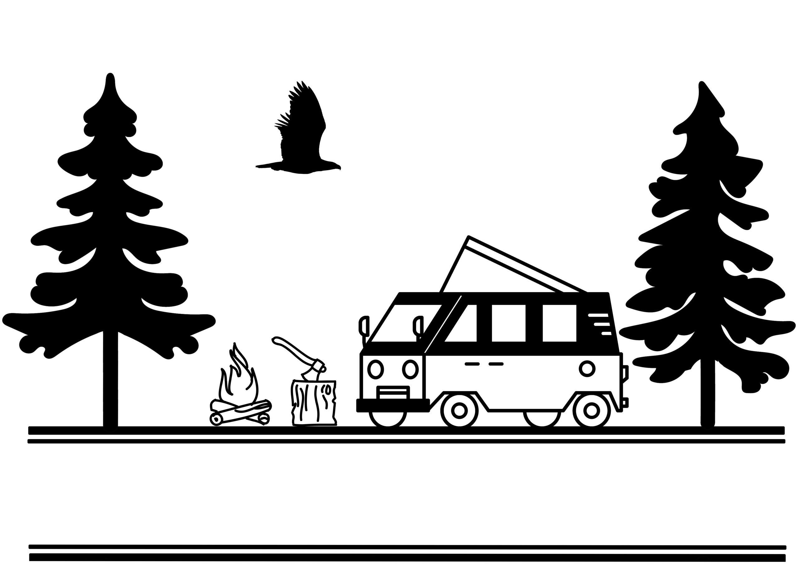 Free Camper Van Split SVG