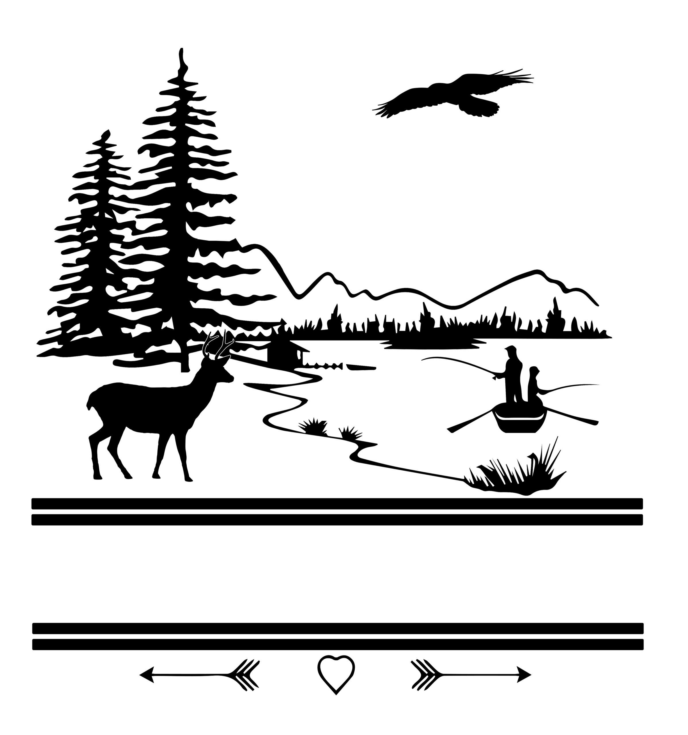 Free Outdoor Fishing Split SVG File